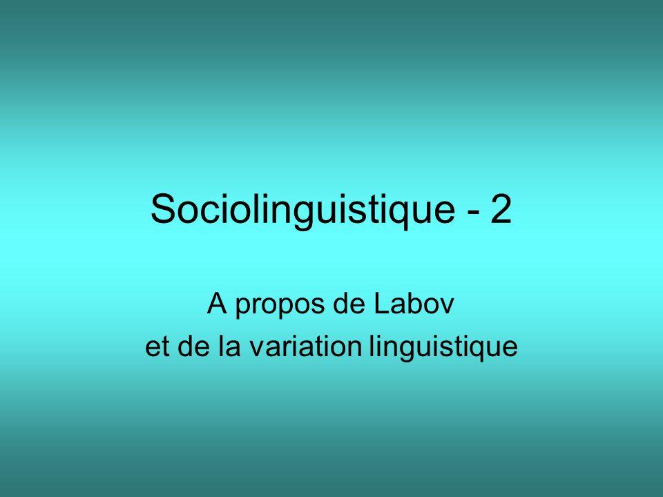 Sociolinguistique - 2 A propos de Labov et de la variation linguistique