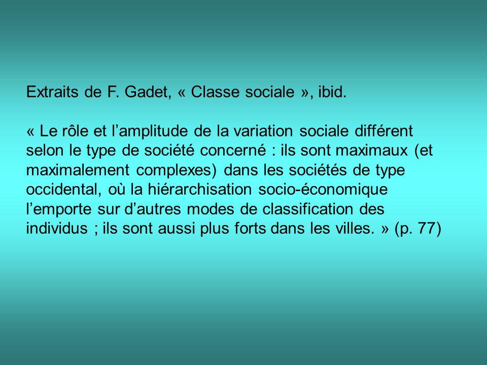 Extraits de F.Gadet, « Classe sociale », ibid.