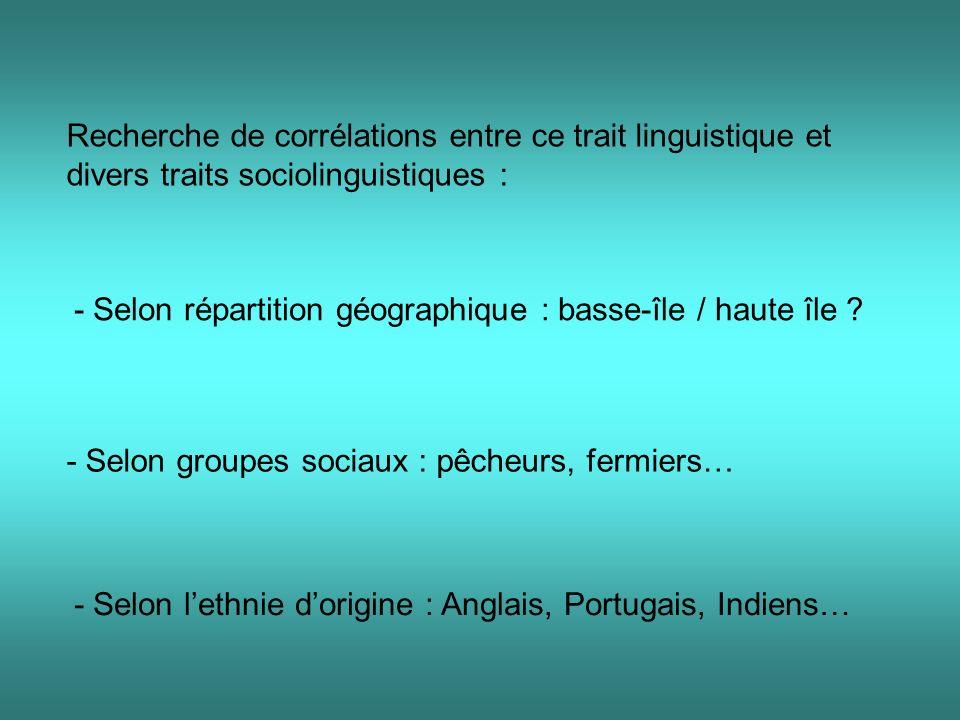 Recherche de corrélations entre ce trait linguistique et divers traits sociolinguistiques : - Selon répartition géographique : basse-île / haute île .