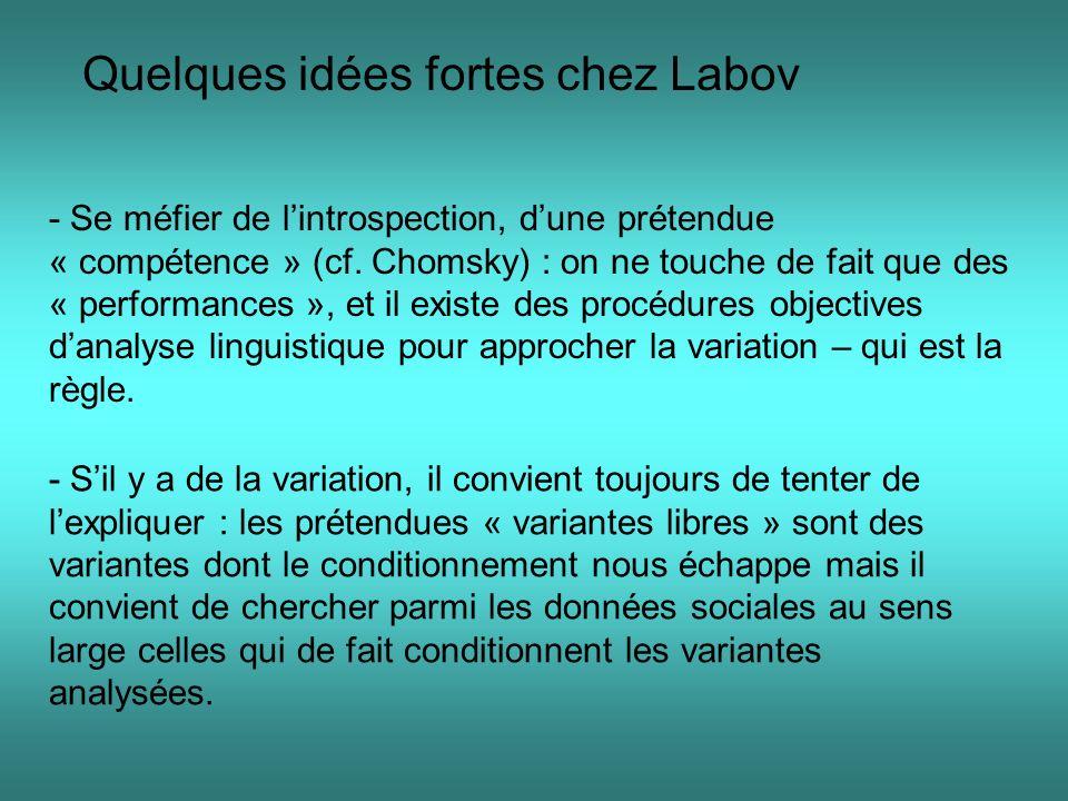 Conclusion : Les limites de la sociolinguistique variationnelle sont donc à la fois : -Méthodologique (complexité daboutir en obtenant les formes requises de façon régulière et automatique) ; - sur le fond : y a-t-il « conditionnement » langagier de lhomme .