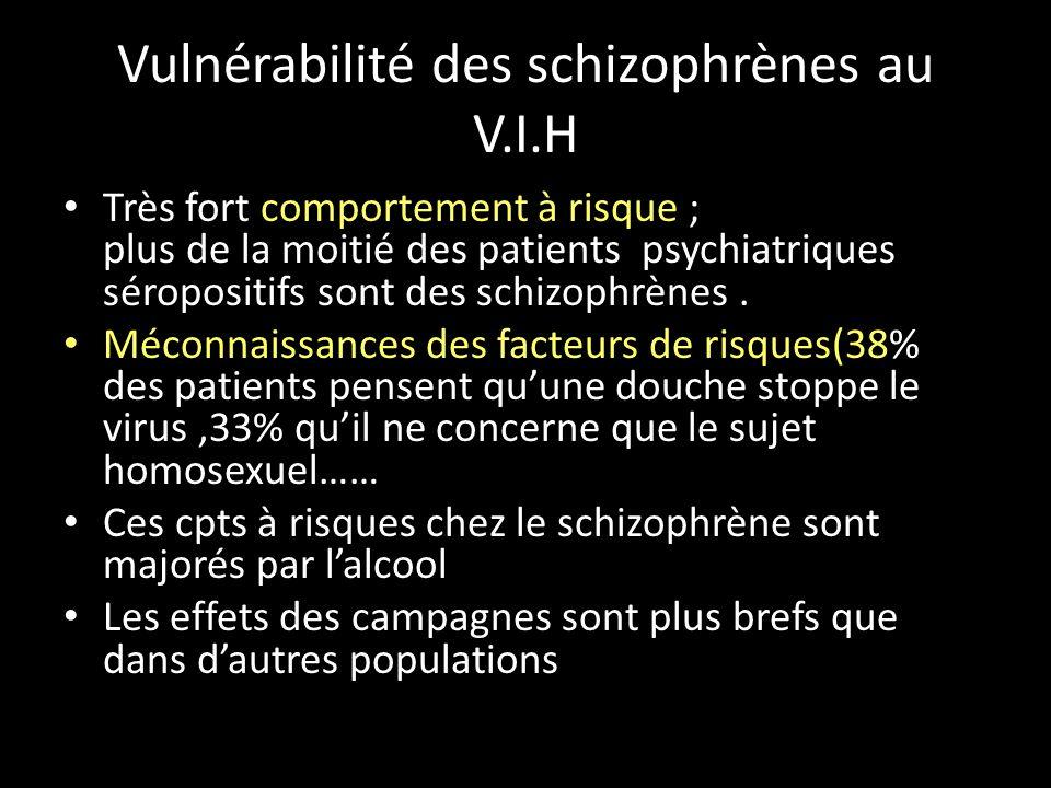 Vulnérabilité des schizophrènes au V.I.H Très fort comportement à risque ; plus de la moitié des patients psychiatriques séropositifs sont des schizop