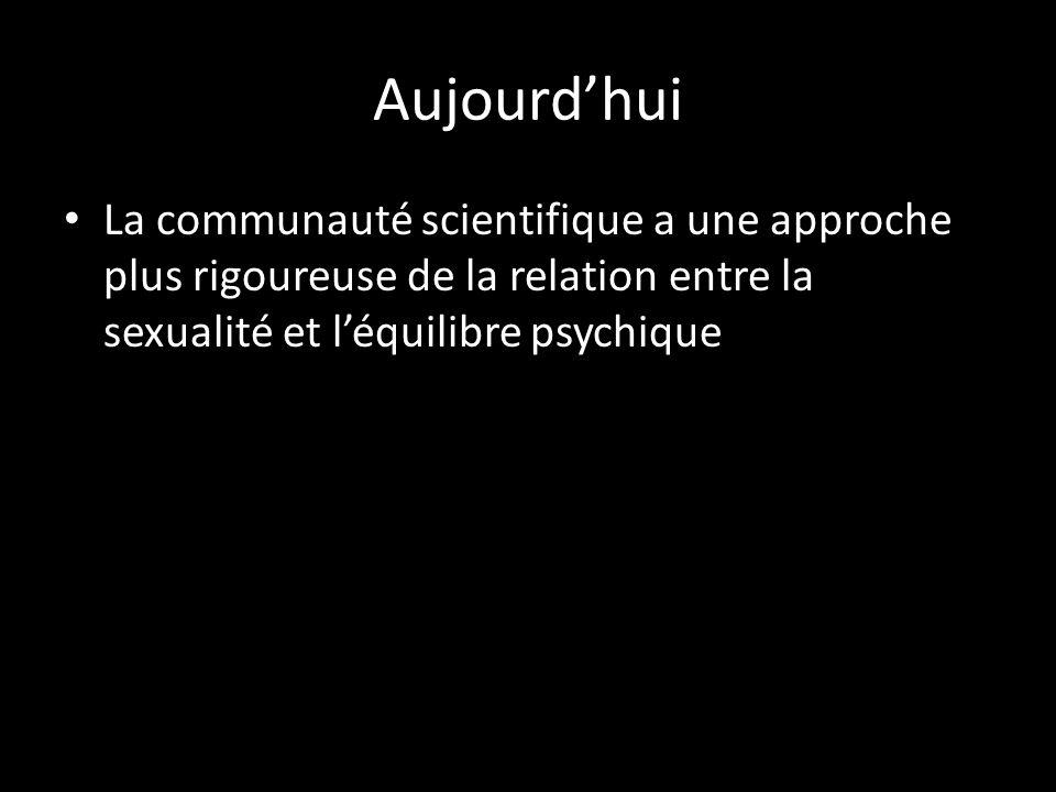 Aujourdhui La communauté scientifique a une approche plus rigoureuse de la relation entre la sexualité et léquilibre psychique