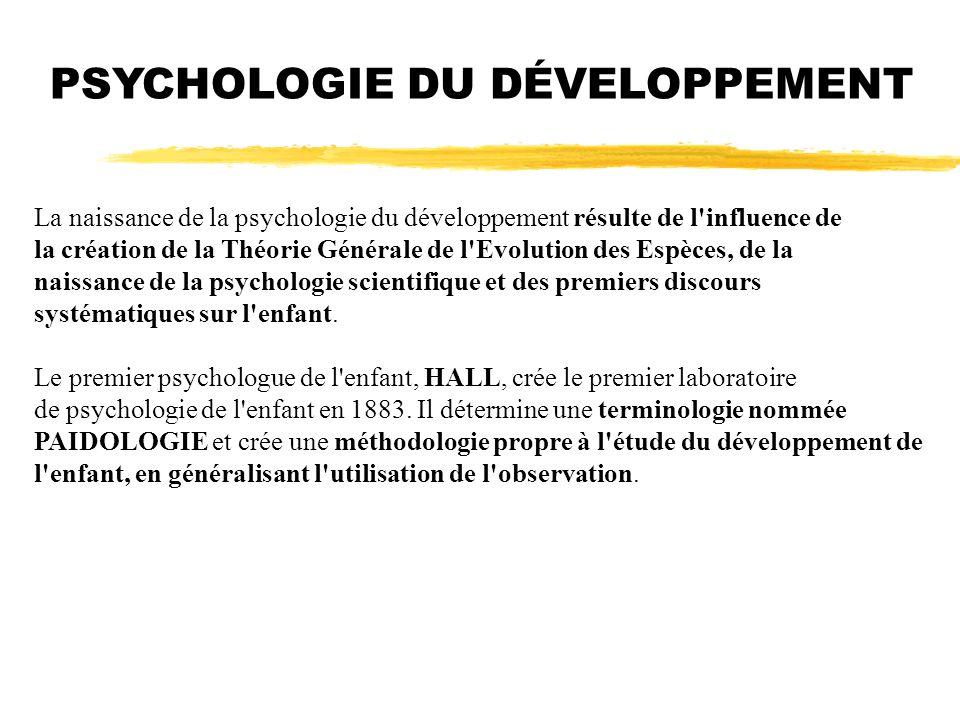 La naissance de la psychologie du développement résulte de l'influence de la création de la Théorie Générale de l'Evolution des Espèces, de la naissan