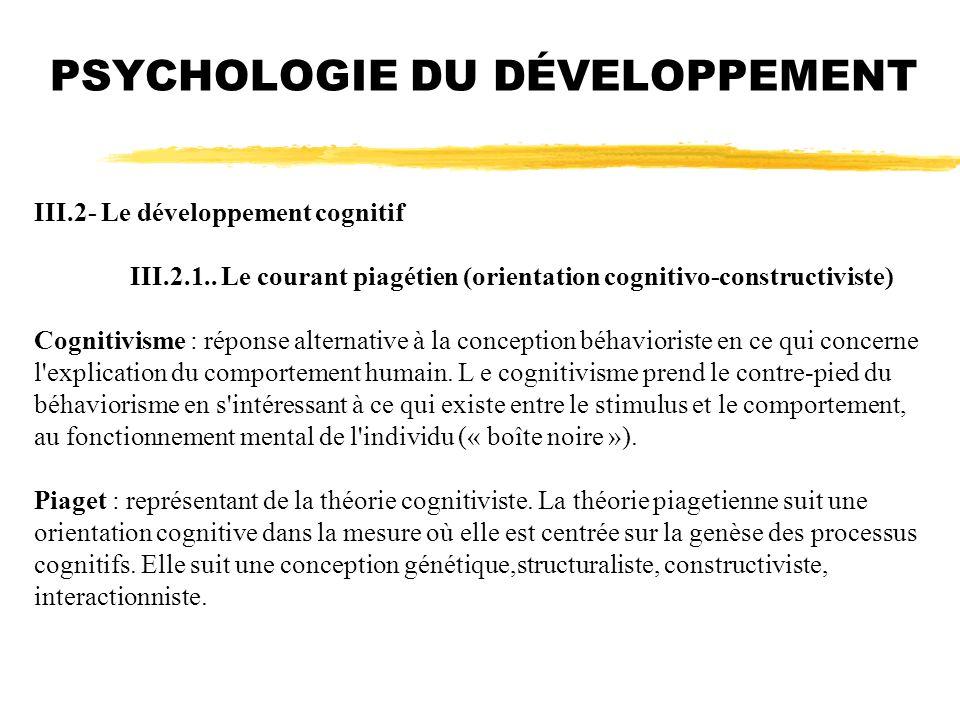 PSYCHOLOGIE DU DÉVELOPPEMENT III.2- Le développement cognitif III.2.1.. Le courant piagétien (orientation cognitivo-constructiviste) Cognitivisme : ré