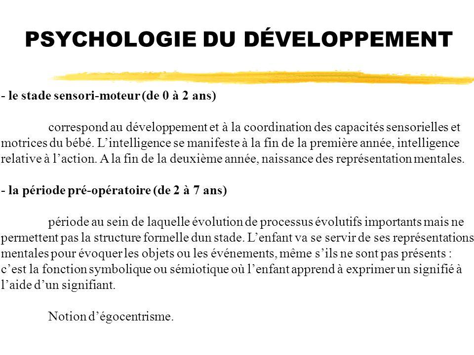 PSYCHOLOGIE DU DÉVELOPPEMENT - le stade sensori-moteur (de 0 à 2 ans) correspond au développement et à la coordination des capacités sensorielles et m