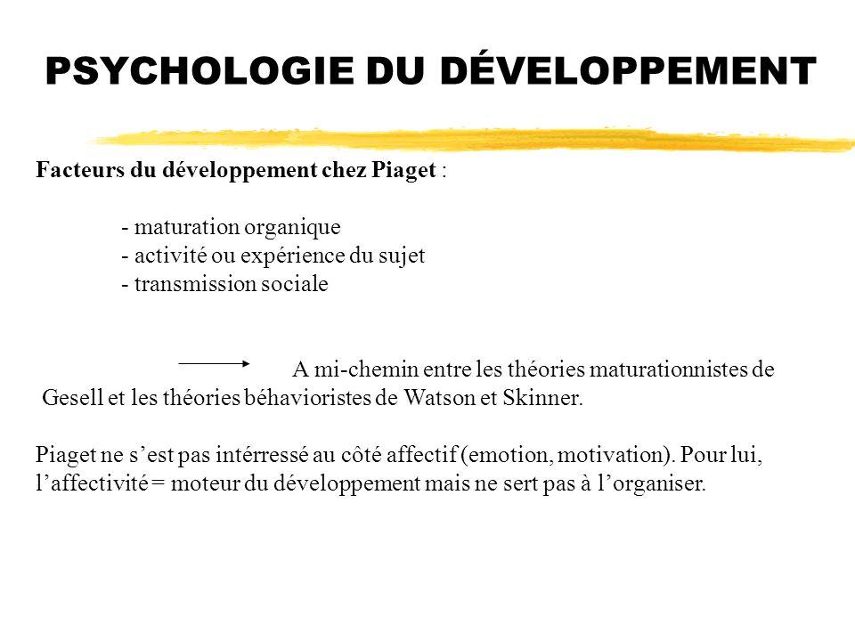 PSYCHOLOGIE DU DÉVELOPPEMENT Facteurs du développement chez Piaget : - maturation organique - activité ou expérience du sujet - transmission sociale A