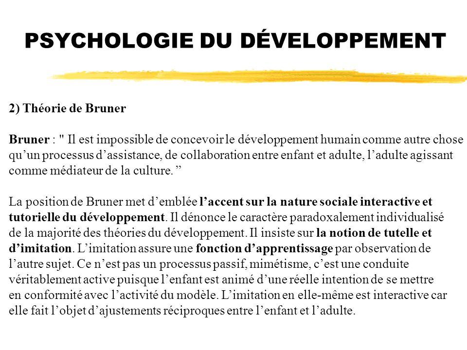 PSYCHOLOGIE DU DÉVELOPPEMENT 2) Théorie de Bruner Bruner :