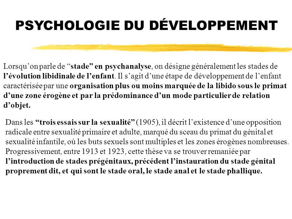 Lorsquon parle de stade en psychanalyse, on désigne généralement les stades de lévolution libidinale de lenfant. Il sagit dune étape de développement
