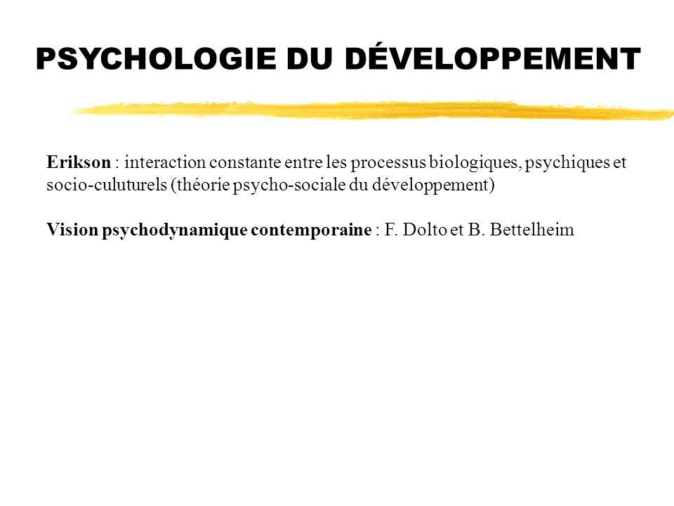 Erikson : interaction constante entre les processus biologiques, psychiques et socio-culuturels (théorie psycho-sociale du développement) Vision psych