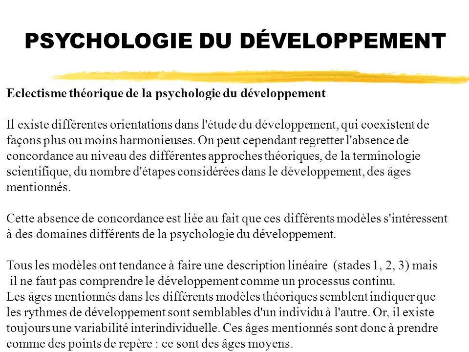 PSYCHOLOGIE DU DÉVELOPPEMENT Eclectisme théorique de la psychologie du développement Il existe différentes orientations dans l'étude du développement,