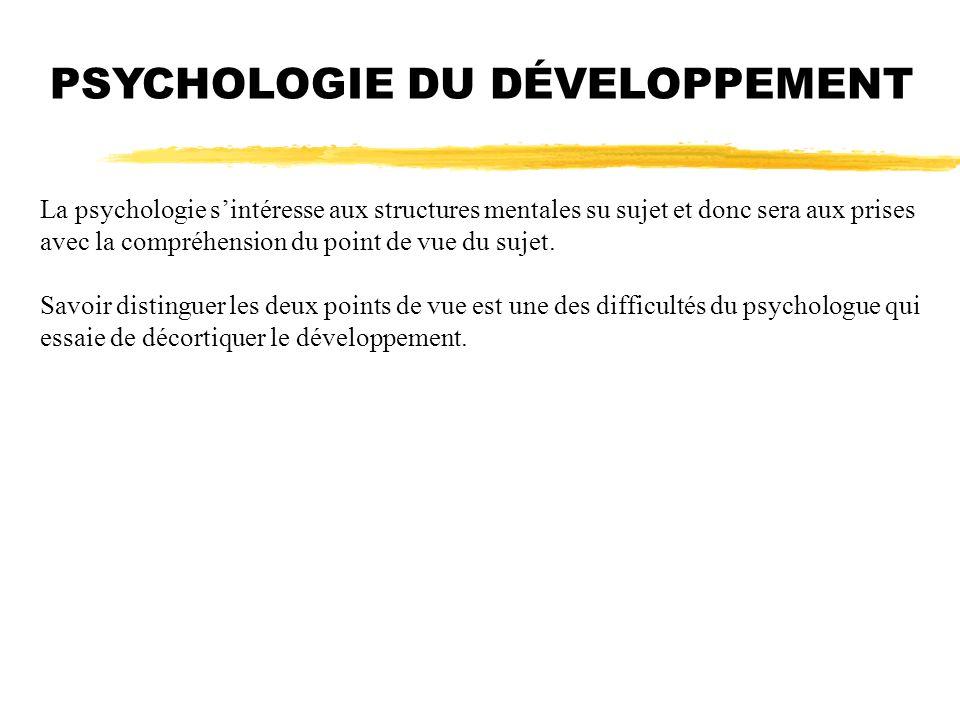 PSYCHOLOGIE DU DÉVELOPPEMENT La psychologie sintéresse aux structures mentales su sujet et donc sera aux prises avec la compréhension du point de vue