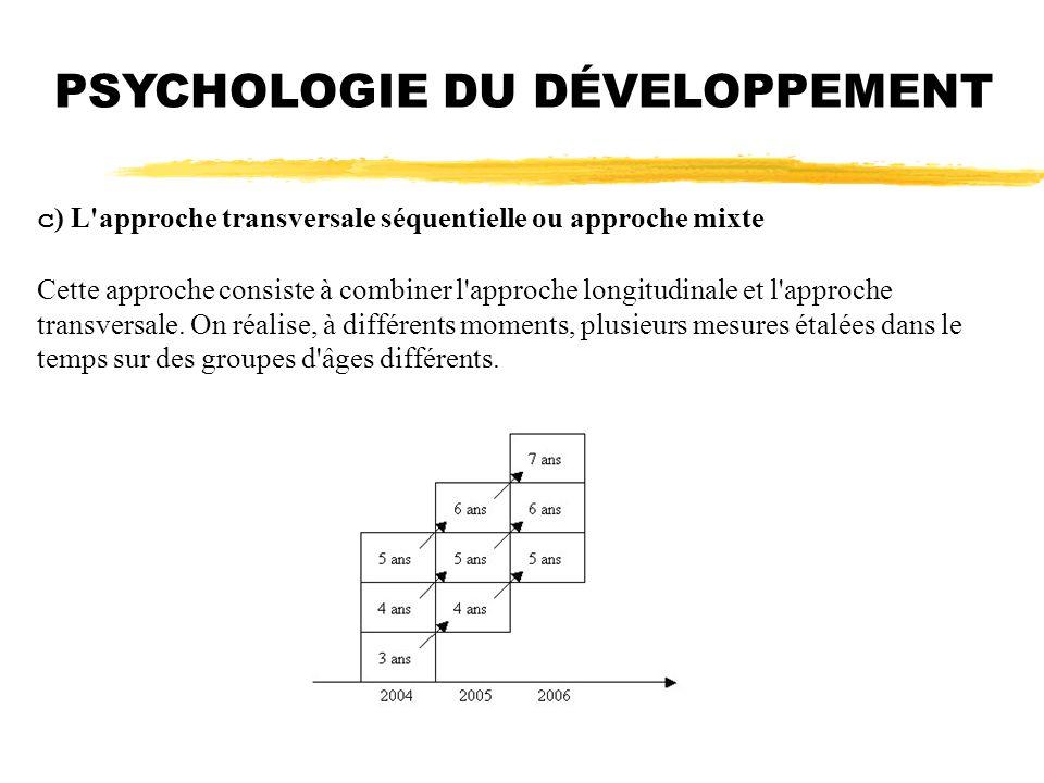PSYCHOLOGIE DU DÉVELOPPEMENT c ) L'approche transversale séquentielle ou approche mixte Cette approche consiste à combiner l'approche longitudinale et