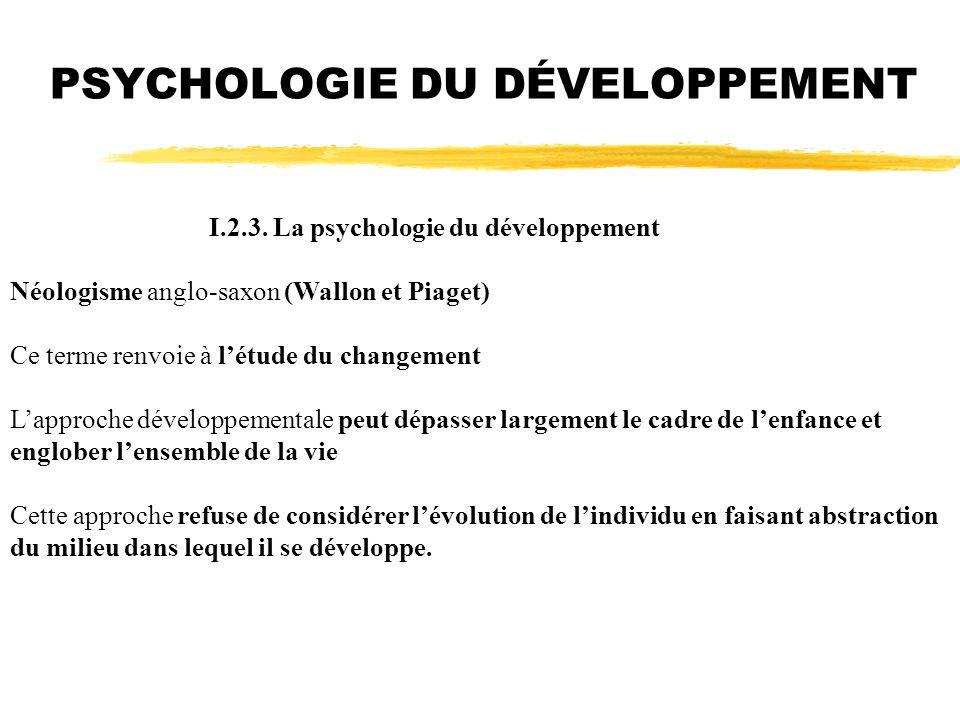I.2.3. La psychologie du développement Néologisme anglo-saxon (Wallon et Piaget) Ce terme renvoie à létude du changement Lapproche développementale pe