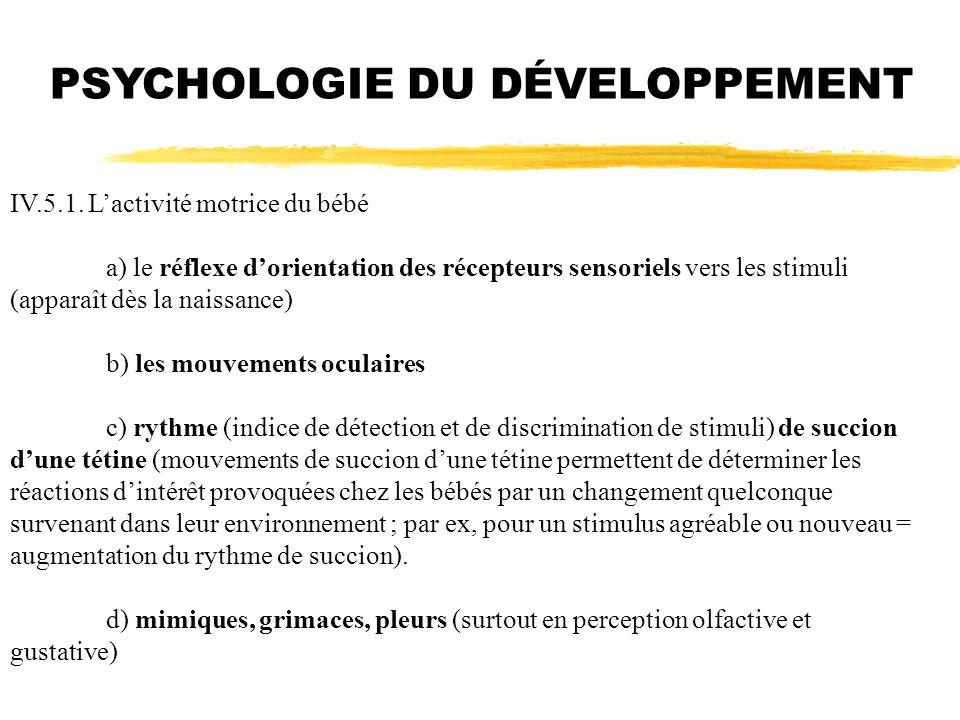 PSYCHOLOGIE DU DÉVELOPPEMENT IV.5.1. Lactivité motrice du bébé a) le réflexe dorientation des récepteurs sensoriels vers les stimuli (apparaît dès la