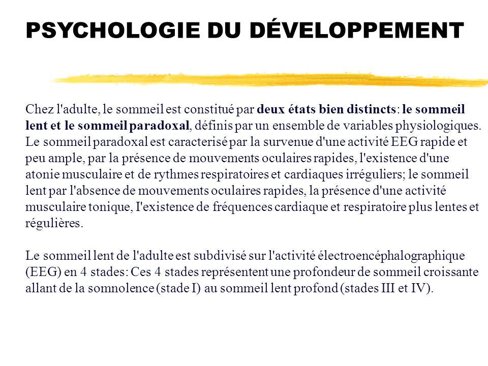 PSYCHOLOGIE DU DÉVELOPPEMENT Chez l'adulte, le sommeil est constitué par deux états bien distincts: le sommeil lent et le sommeil paradoxal, définis p