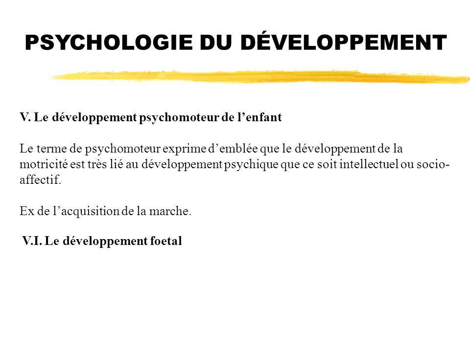 PSYCHOLOGIE DU DÉVELOPPEMENT V. Le développement psychomoteur de lenfant Le terme de psychomoteur exprime demblée que le développement de la motricité