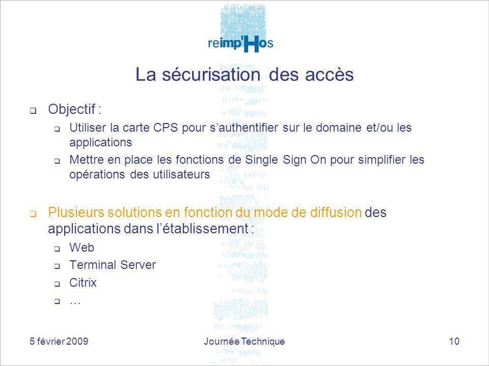 5 février 2009Journée Technique10 La sécurisation des accès Objectif : Utiliser la carte CPS pour sauthentifier sur le domaine et/ou les applications