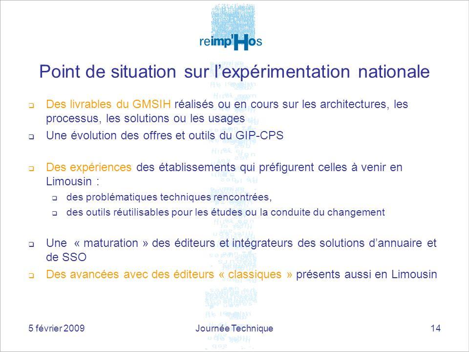 5 février 2009Journée Technique14 Point de situation sur lexpérimentation nationale Des livrables du GMSIH réalisés ou en cours sur les architectures,