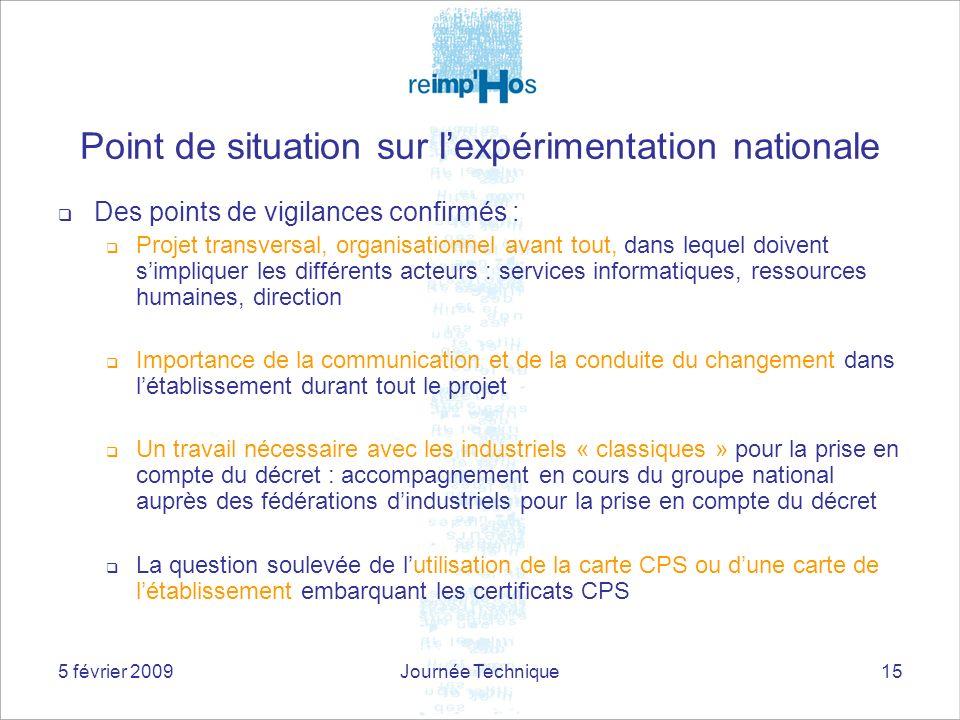 5 février 2009Journée Technique15 Point de situation sur lexpérimentation nationale Des points de vigilances confirmés : Projet transversal, organisat