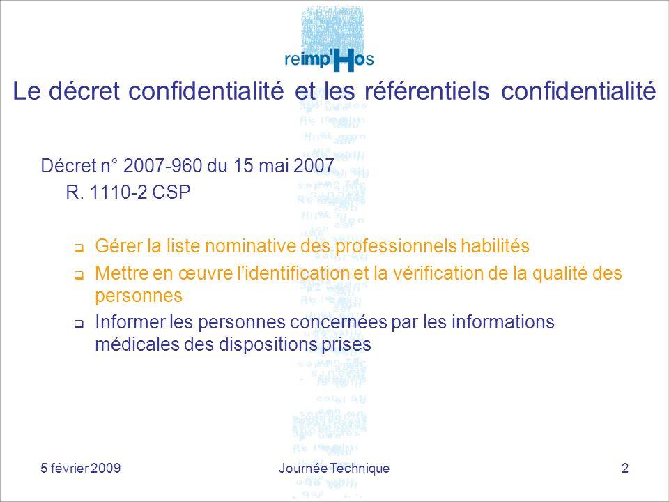 5 février 2009Journée Technique2 Décret n° 2007-960 du 15 mai 2007 R. 1110-2 CSP Gérer la liste nominative des professionnels habilités Mettre en œuvr