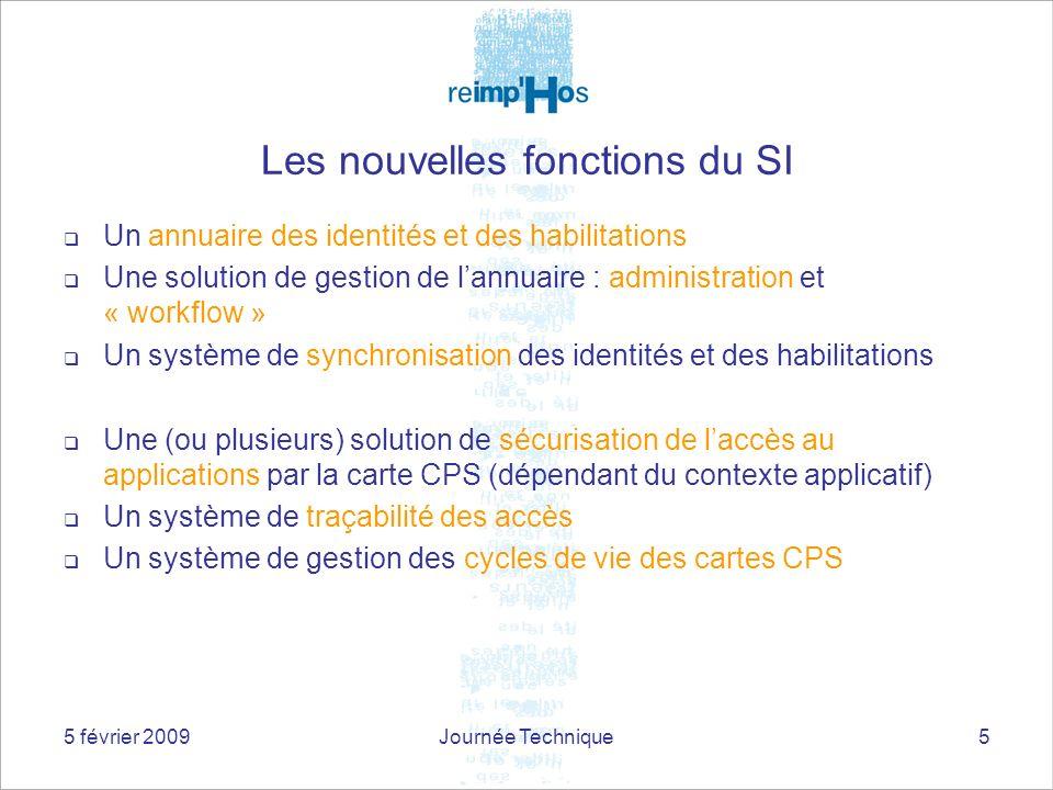 5 février 2009Journée Technique5 Les nouvelles fonctions du SI Un annuaire des identités et des habilitations Une solution de gestion de lannuaire : a