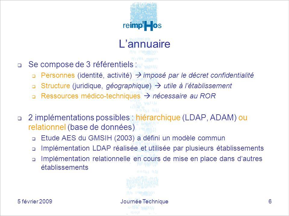 5 février 2009Journée Technique6 Lannuaire Se compose de 3 référentiels : Personnes (identité, activité) imposé par le décret confidentialité Structure (juridique, géographique) utile à létablissement Ressources médico-techniques nécessaire au ROR 2 implémentations possibles : hiérarchique (LDAP, ADAM) ou relationnel (base de données) Etude AES du GMSIH (2003) a défini un modèle commun Implémentation LDAP réalisée et utilisée par plusieurs établissements Implémentation relationnelle en cours de mise en place dans dautres établissements