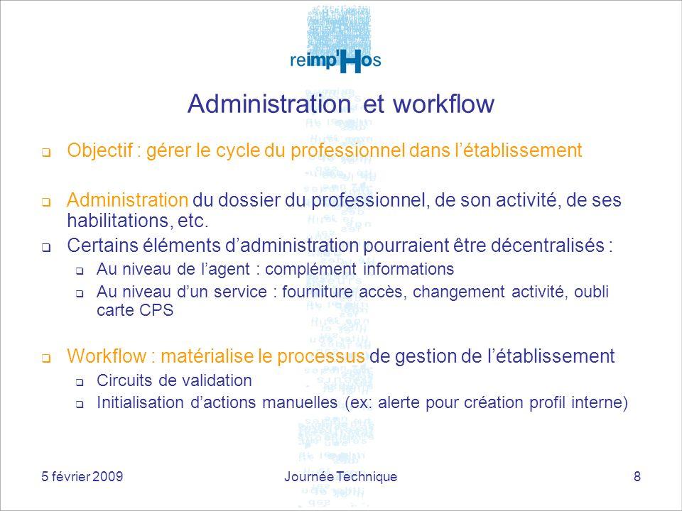 5 février 2009Journée Technique8 Administration et workflow Objectif : gérer le cycle du professionnel dans létablissement Administration du dossier du professionnel, de son activité, de ses habilitations, etc.
