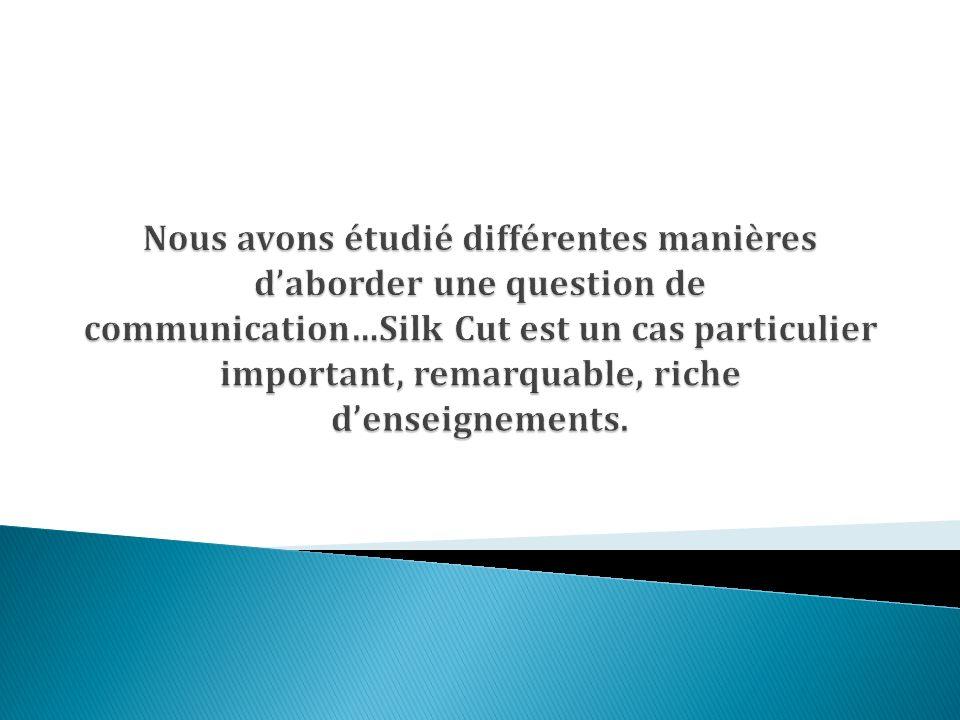 Le génie de la stratégie Silk Cut : faire de ses « fondamentaux », ses éléments constitutifs, les héros dune communication poussée à lextrême dans ces signifiants.