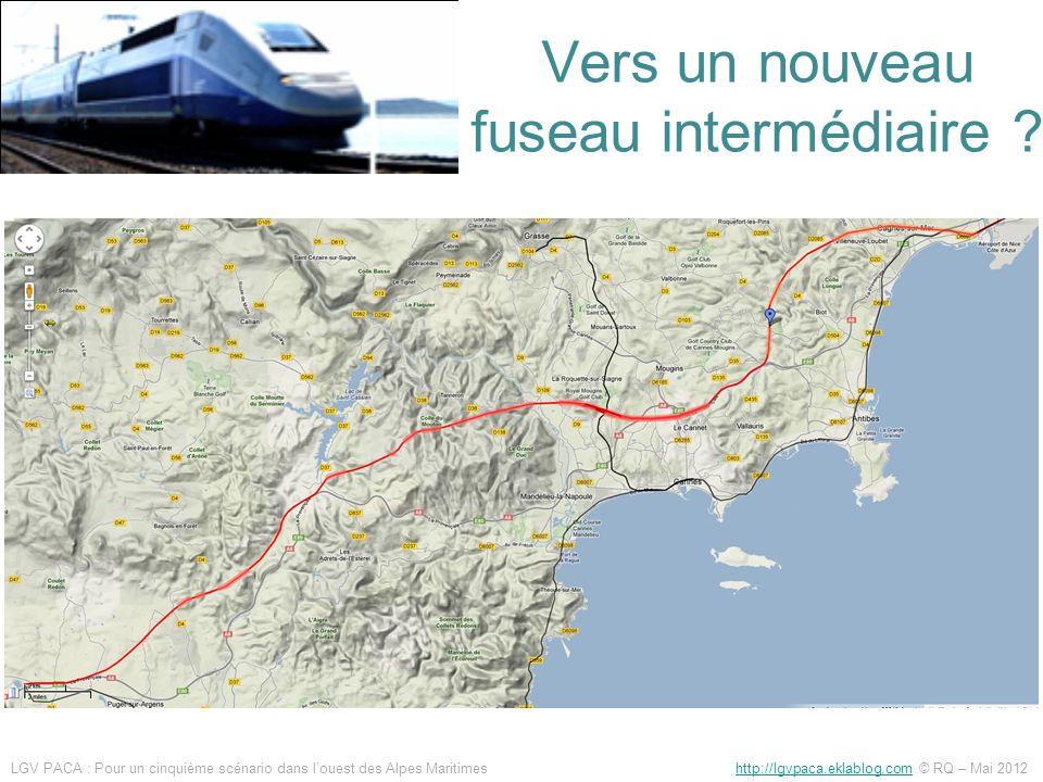 Ce qui avait été étudié en 2008 Raccordement à la ligne littorale, intégralement en tunnel monovoie, 7 km, 800 millions d Gain de temps 15 à 20 min entre Est Var et Cannes 3km de tunnel monovoie + 2 viaducs 1.7 km difficile à inscrire dans le paysage, 500 millions deuros Gain de temps 10 à 15 min entre Est Var et Cannes LGV PACA : Pour un cinquième scénario dans louest des Alpes Maritimes http://lgvpaca.eklablog.com © RQ – Mai 2012http://lgvpaca.eklablog.com