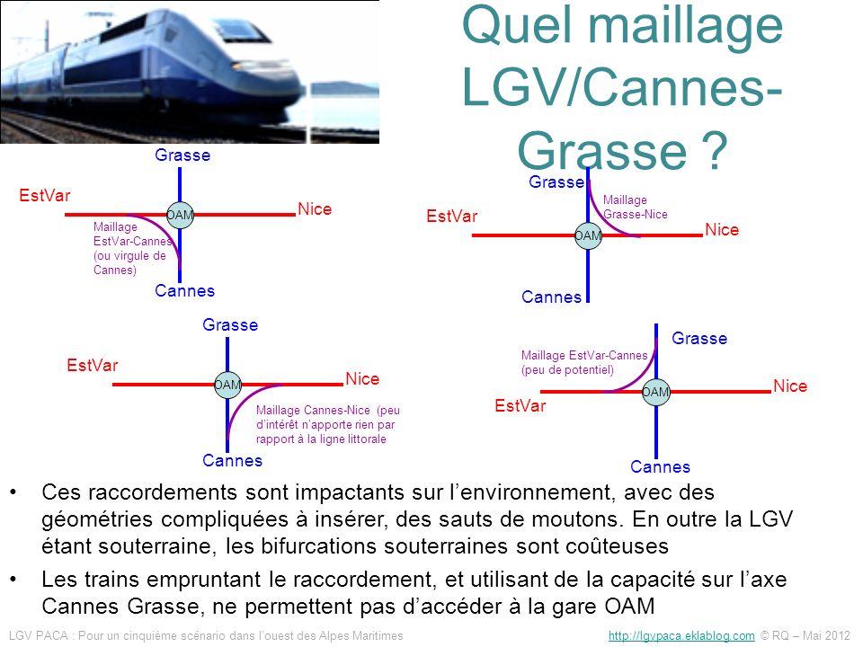 Quel maillage LGV/Cannes- Grasse ? Ces raccordements sont impactants sur lenvironnement, avec des géométries compliquées à insérer, des sauts de mouto