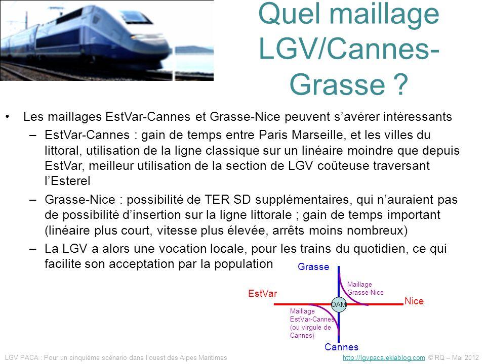 Quel maillage LGV/Cannes- Grasse ? Les maillages EstVar-Cannes et Grasse-Nice peuvent savérer intéressants –EstVar-Cannes : gain de temps entre Paris