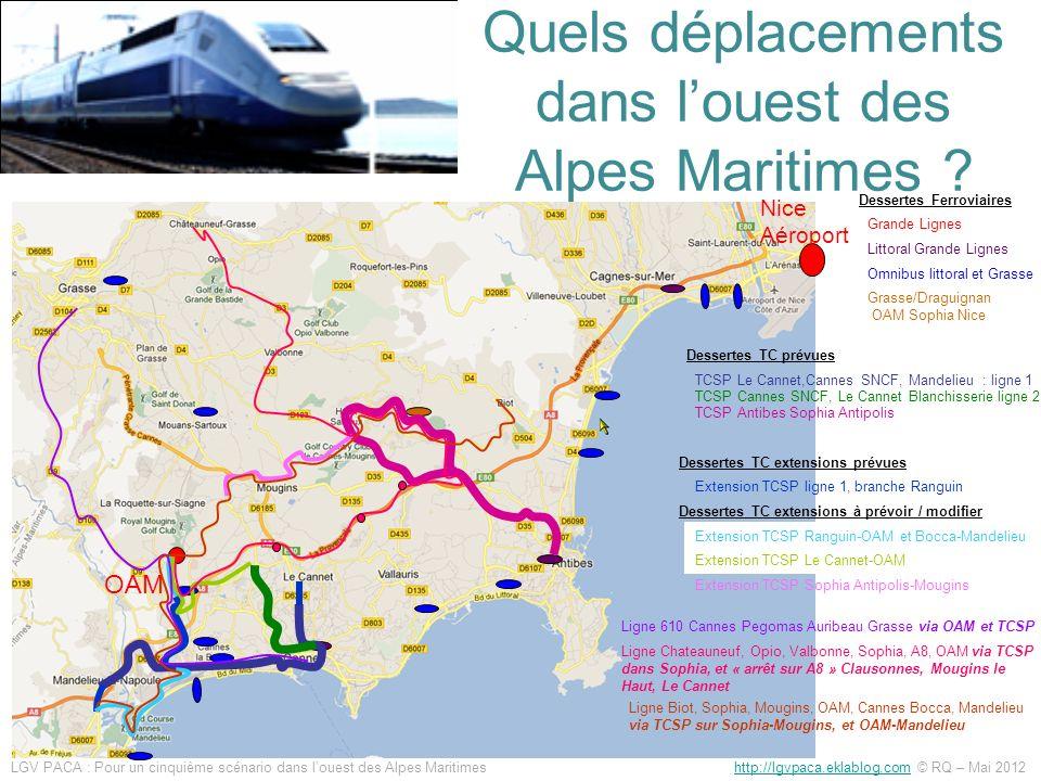 Quels déplacements dans louest des Alpes Maritimes ? LGV PACA : Pour un cinquième scénario dans louest des Alpes Maritimes http://lgvpaca.eklablog.com