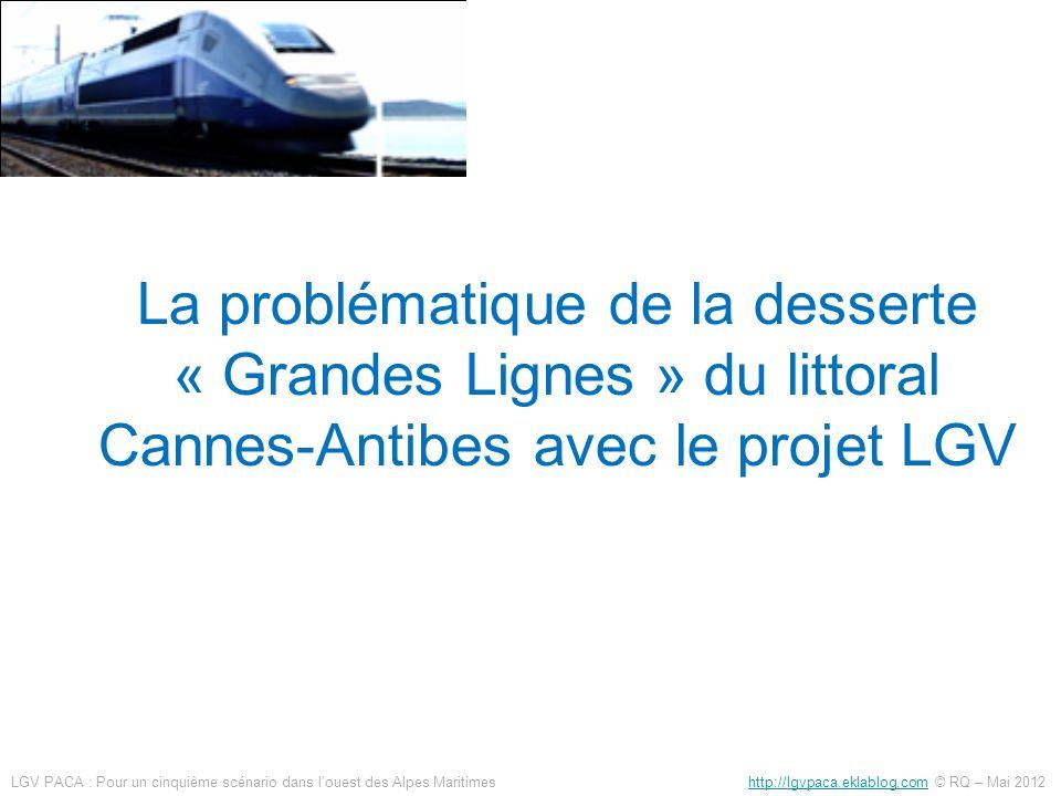 http://g.co/maps/4ebx6http://g.co/maps/4ebx6 (lien google maps) La déviation TER souterraine (3.8 km monotube) sinsère entre les 2 tubes de la LGV Les communications entre voies TGV et TER parrallèles, en zone semi enterrée, sont faciles à établir Il ne sagit pas de communication entre tubes de tunnels Gare OAM avec -déviation TER -maillage -correspondance TGV/TER à niveau Quais TER/TGV LGV PACA : Pour un cinquième scénario dans louest des Alpes Maritimes http://lgvpaca.eklablog.com © RQ – Mai 2012http://lgvpaca.eklablog.com