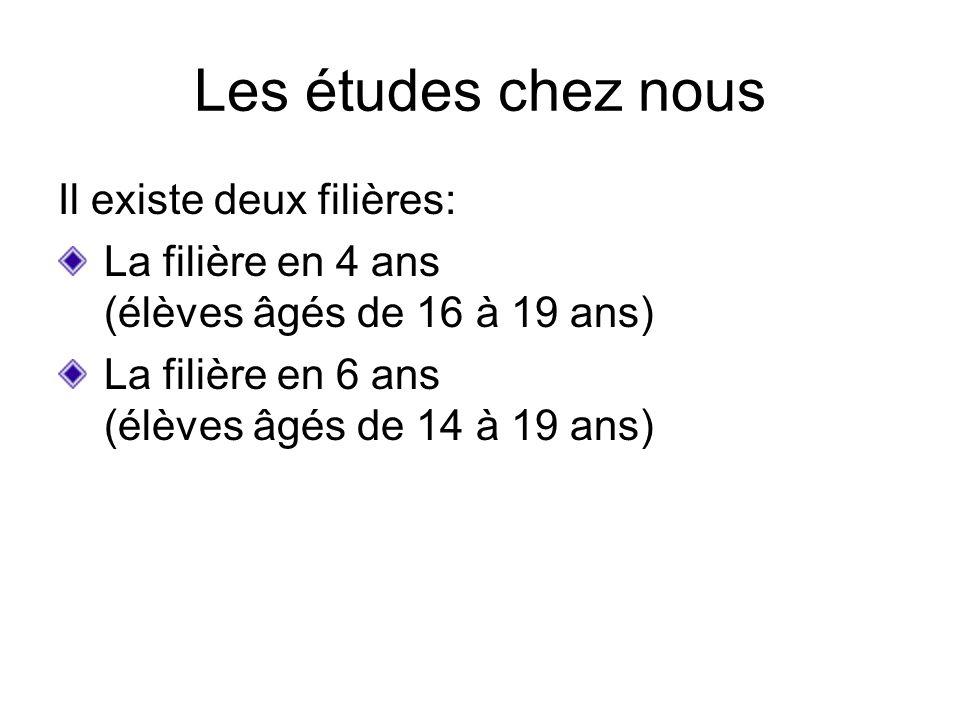 Les études chez nous Il existe deux filières: La filière en 4 ans (élèves âgés de 16 à 19 ans) La filière en 6 ans (élèves âgés de 14 à 19 ans)