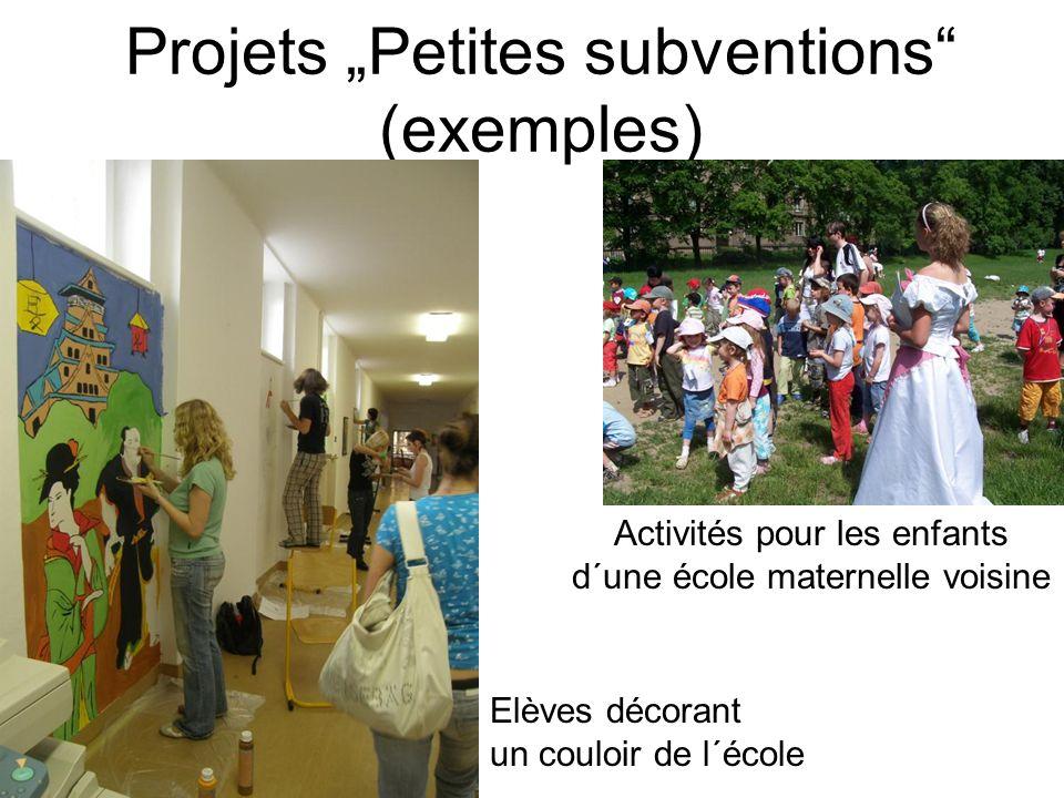 Projets Petites subventions (exemples) Elèves décorant un couloir de l´école Activités pour les enfants d´une école maternelle voisine