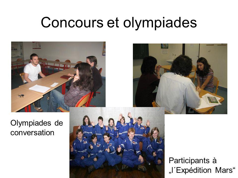 Concours et olympiades Participants à l´Expédition Mars Olympiades de conversation