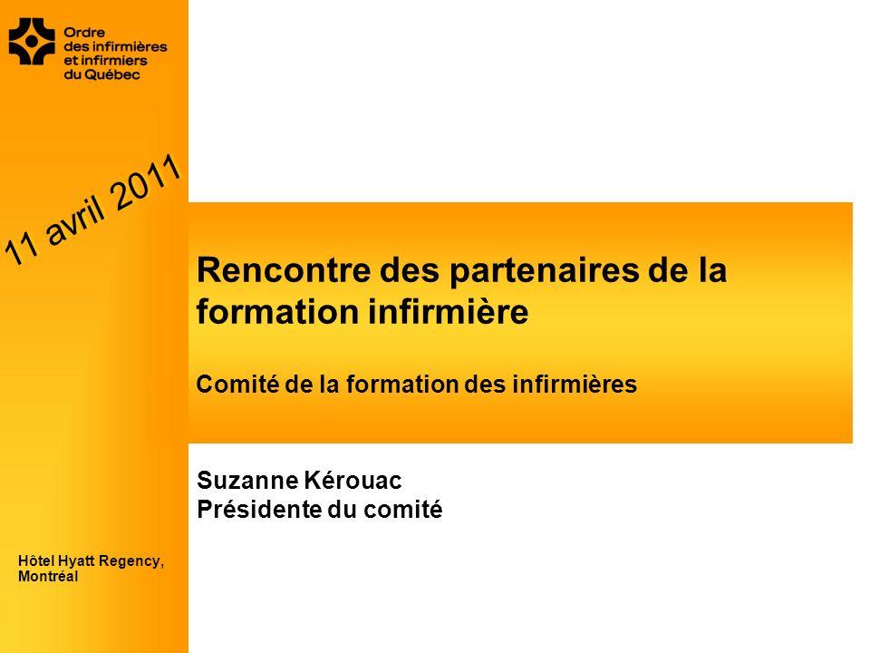 Rencontre des partenaires de la formation infirmière Comité de la formation des infirmières Hôtel Hyatt Regency, Montréal Suzanne Kérouac Présidente d