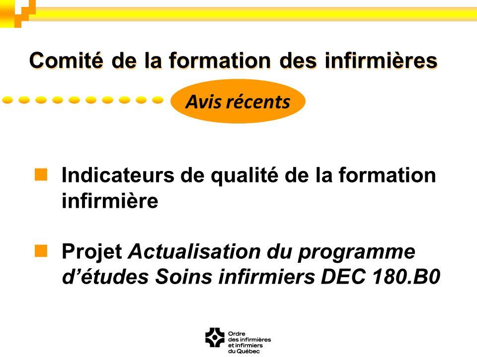 Indicateurs de qualité de la formation infirmière Projet Actualisation du programme détudes Soins infirmiers DEC 180.B0 Comité de la formation des inf