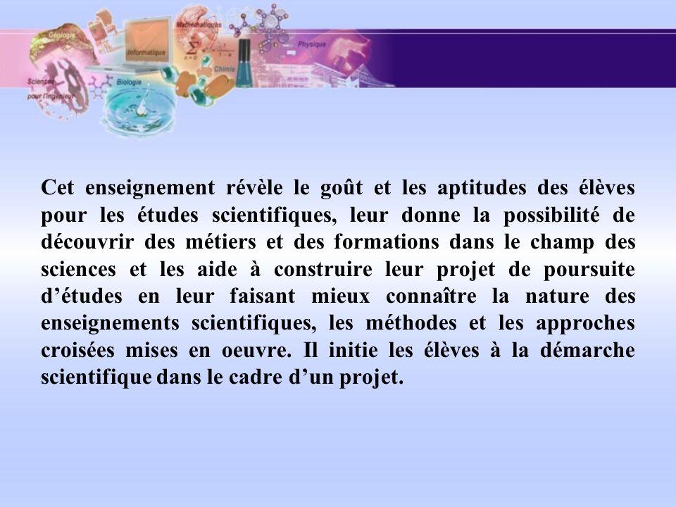 Cet enseignement révèle le goût et les aptitudes des élèves pour les études scientifiques, leur donne la possibilité de découvrir des métiers et des f