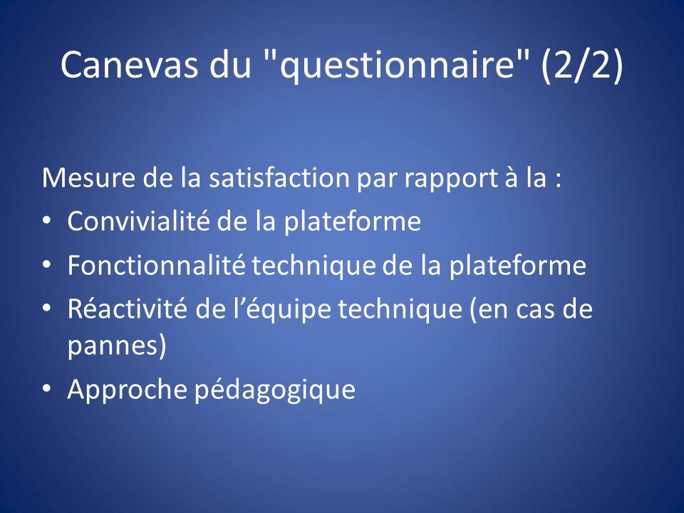 Canevas du questionnaire (2/2) Mesure de la satisfaction par rapport à la : Convivialité de la plateforme Fonctionnalité technique de la plateforme Réactivité de léquipe technique (en cas de pannes) Approche pédagogique