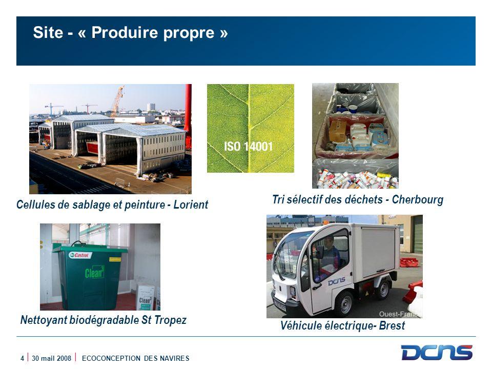 4 | 30 mail 2008 | ECOCONCEPTION DES NAVIRES Site - « Produire propre » Cellules de sablage et peinture - Lorient Véhicule électrique- Brest Tri sélec
