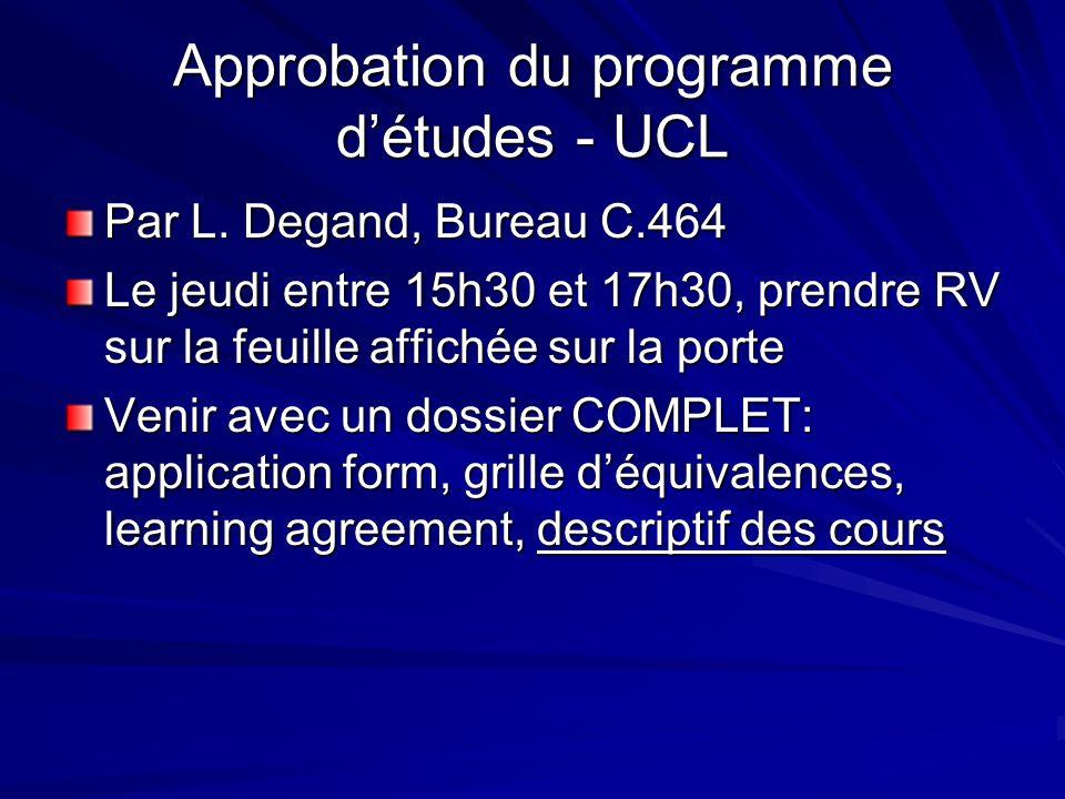 Approbation du programme détudes - UCL Par L.