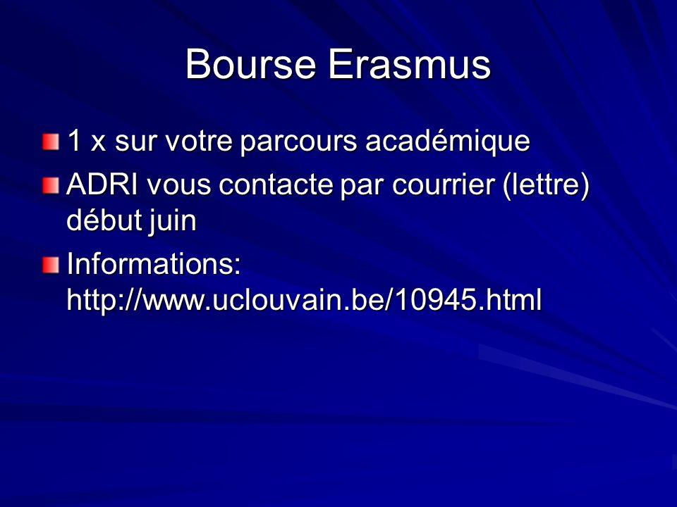 Bourse Erasmus 1 x sur votre parcours académique ADRI vous contacte par courrier (lettre) début juin Informations: http://www.uclouvain.be/10945.html