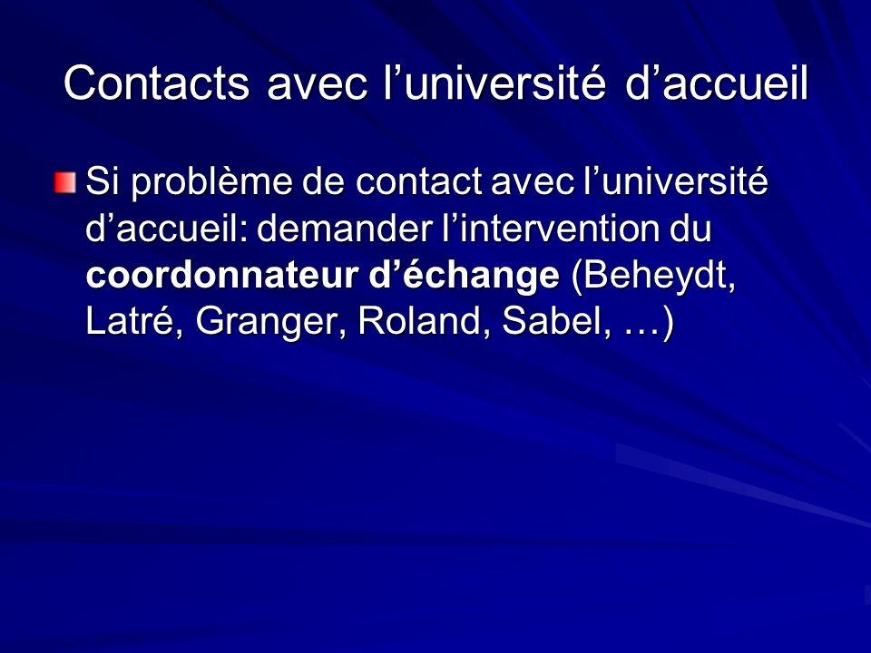 Si problème de contact avec luniversité daccueil: demander lintervention du coordonnateur déchange (Beheydt, Latré, Granger, Roland, Sabel, …)