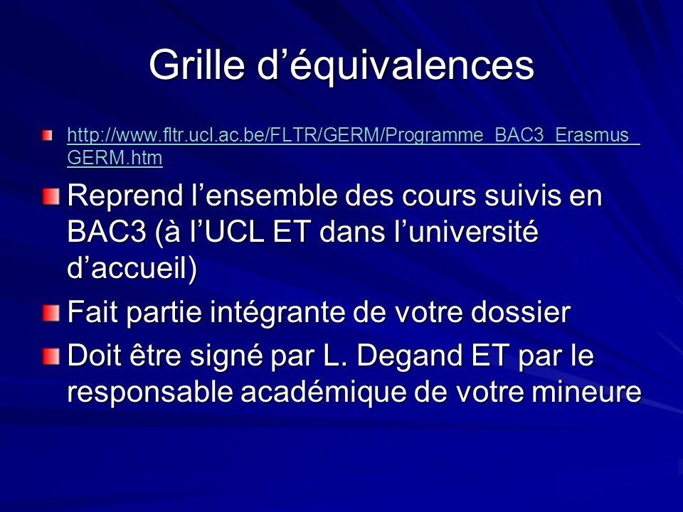 http://www.fltr.ucl.ac.be/FLTR/GERM/Programme_BAC3_Erasmus_ GERM.htm http://www.fltr.ucl.ac.be/FLTR/GERM/Programme_BAC3_Erasmus_ GERM.htm Reprend lensemble des cours suivis en BAC3 (à lUCL ET dans luniversité daccueil) Fait partie intégrante de votre dossier Doit être signé par L.
