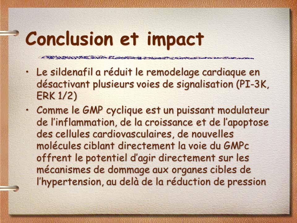 Conclusion et impact Le sildenafil a réduit le remodelage cardiaque en désactivant plusieurs voies de signalisation (PI-3K, ERK 1/2) Comme le GMP cyclique est un puissant modulateur de linflammation, de la croissance et de lapoptose des cellules cardiovasculaires, de nouvelles molécules ciblant directement la voie du GMPc offrent le potentiel dagir directement sur les mécanismes de dommage aux organes cibles de lhypertension, au delà de la réduction de pression Le sildenafil a réduit le remodelage cardiaque en désactivant plusieurs voies de signalisation (PI-3K, ERK 1/2) Comme le GMP cyclique est un puissant modulateur de linflammation, de la croissance et de lapoptose des cellules cardiovasculaires, de nouvelles molécules ciblant directement la voie du GMPc offrent le potentiel dagir directement sur les mécanismes de dommage aux organes cibles de lhypertension, au delà de la réduction de pression