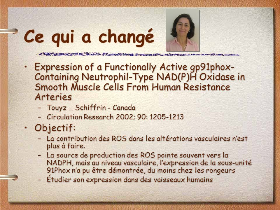Ce qui a changé Expression of a Functionally Active gp91phox- Containing Neutrophil-Type NAD(P)H Oxidase in Smooth Muscle Cells From Human Resistance Arteries –Touyz … Schiffrin - Canada –Circulation Research 2002; 90: 1205-1213 Objectif: –La contribution des ROS dans les altérations vasculaires nest plus à faire.