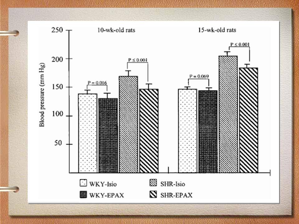 Conclusion et impact Dans lhypertension, les Oméga-3 –Diminuent la pression –Augmentent les réserves anti-oxydantes –Diminuent les lipides et la vitesse daggrégation plaquettaire Limportance dune diète contenant des huiles de poissons pour obtenir des effets bénéfiques sur plusieurs mécanismes intracellulaires et sur la santé en général.