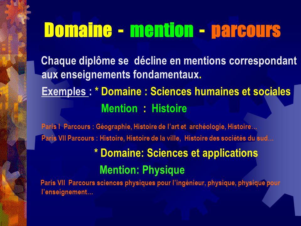 Domaine - mention - parcours Chaque diplôme se décline en mentions correspondant aux enseignements fondamentaux. Exemples : * Domaine : Sciences humai
