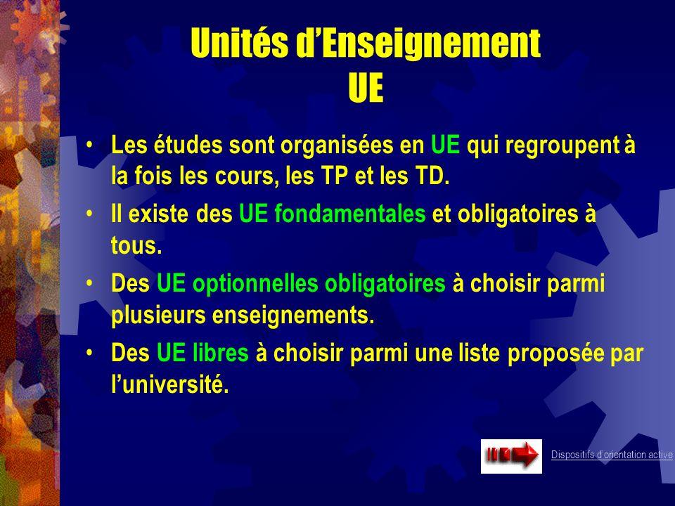 Unités dEnseignement UE Les études sont organisées en UE qui regroupent à la fois les cours, les TP et les TD. Il existe des UE fondamentales et oblig